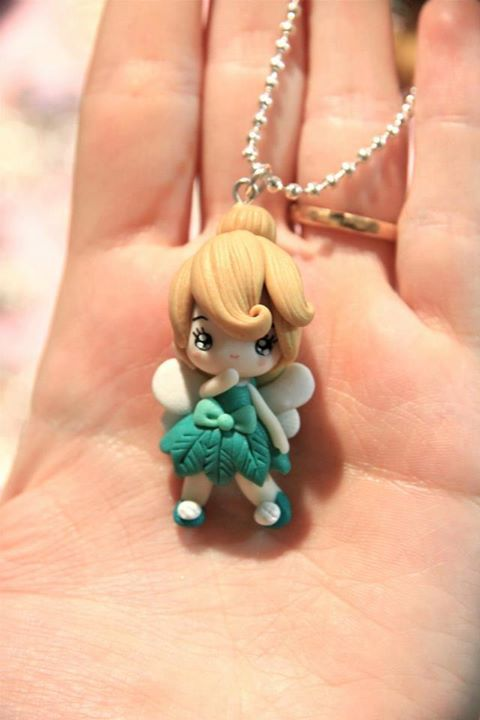 Tinkerbell Fimo clay charm, great detail.