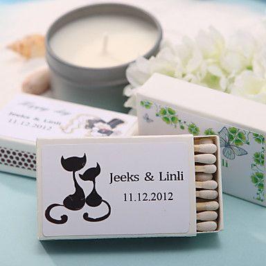 decoración de la boda cajas de fósforos personalizados - gatos encantadores (juego de 12) – USD $ 6.99