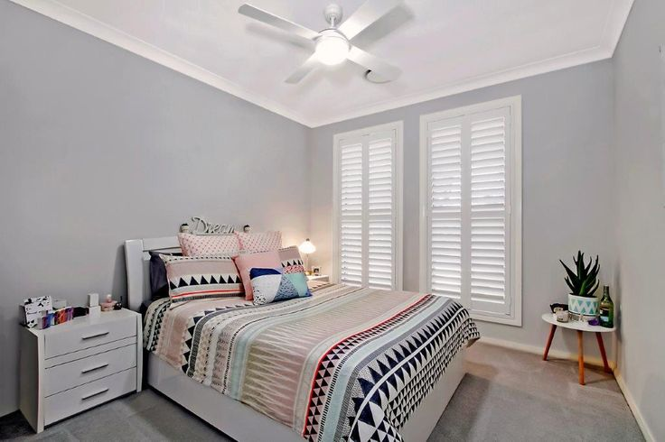 Plantation shutters for the bedroom. They are the perfect mix of durability, function, style and cost. They come in a wide variety of styles including hinged, sliding, bi-fold or fixed.