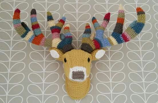 Crochet deer/stag head. I made this last week to hang on my lounge wall :)