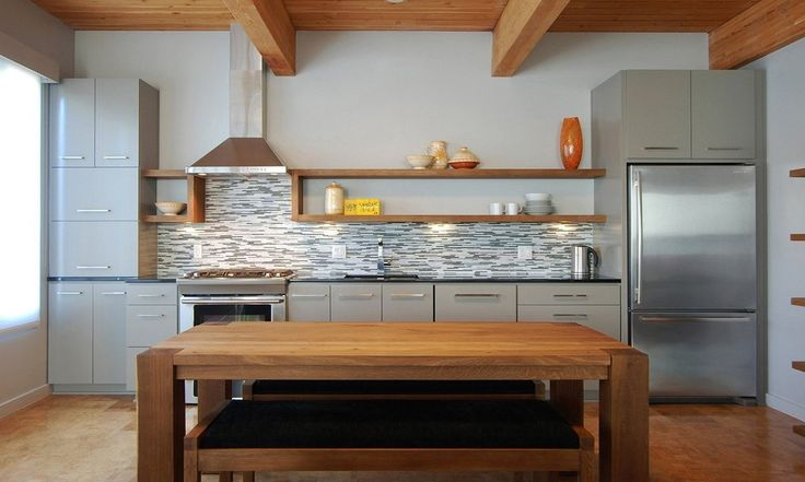 Stainless steel and gray one-walled kitchen