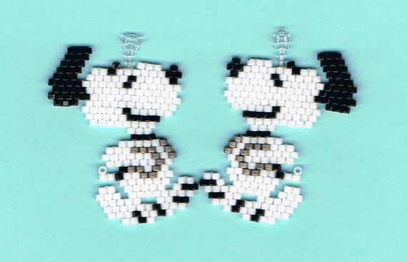 Hand Beaded Snoopy Dog dangling earrings by beadfairy1 on Etsy, $10.95
