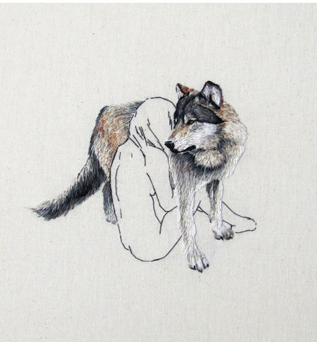 Wolf with a girl embroidery on canvas by Ana Teresa Barboza Der Steppenwolf, Tumblr Tattoo, Dragon Age, Art Plastique, Embroidery Art, Werewolf, Textile Art, Fiber Art, Artwork