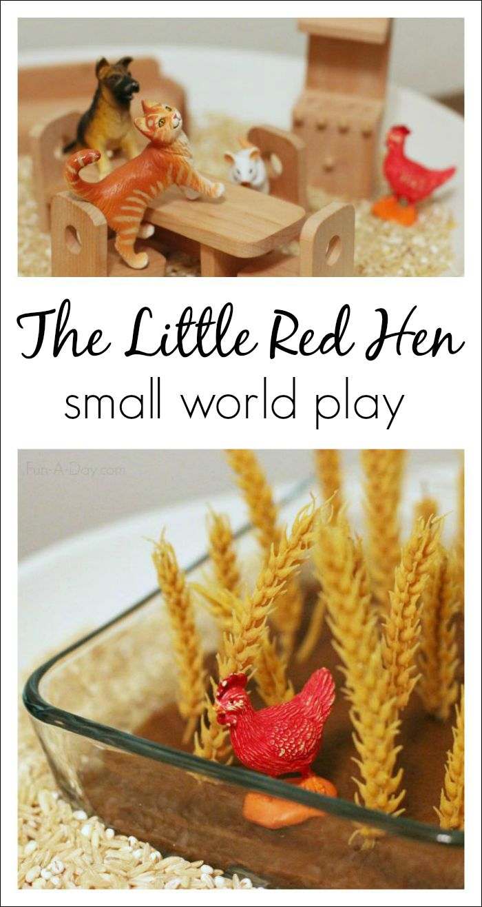 The Little Red Hen small world play - language, literacy, and sensory learning all wrapped up in one activity!