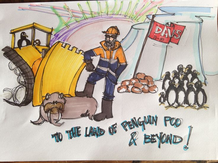#sketch #markers #freehand #JanetBailey #penguins #bulldozer #walrus #drawing