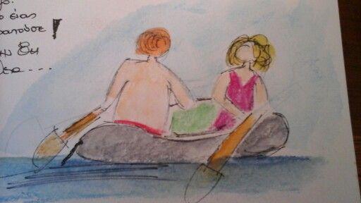 my travel journal. Painting at the beach. Marathi island, Greece. Summer 2015