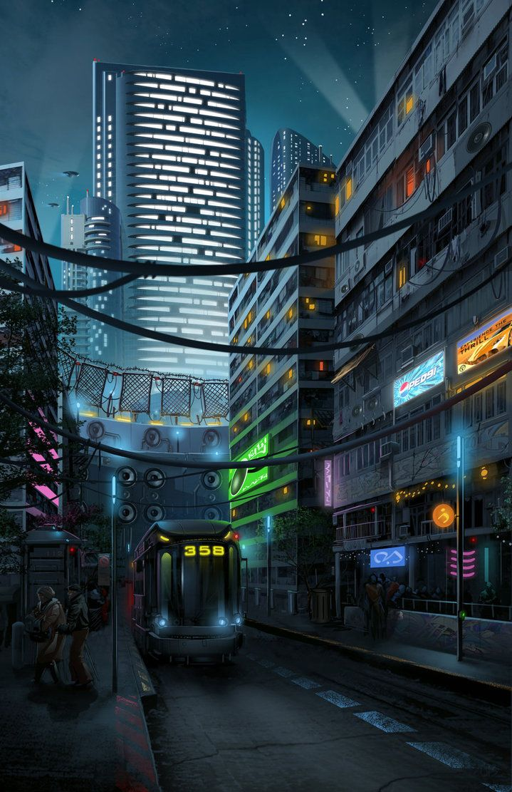 Downtown by DigitalCutti | Digital Art / Drawings & Paintings / Landscapes & Scenery | Sci-Fi Futuristic Concept City Metropolis Cyberpunk