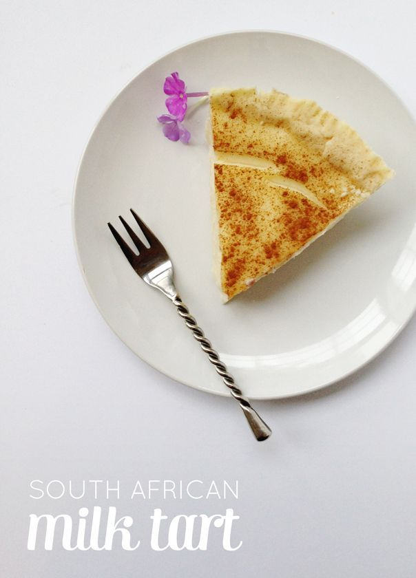 South African Milk Tart is a bit like a custard tart, but with a different consistency. Milk tarts are luscious and creamy, and the best ones are topped with a sprinkling of cinnamon. Always lovely for dessert or served at tea time. (via feastandwest.com)