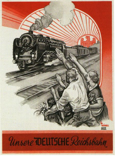 """""""Unsere deutsche Reichsbahn"""": A poster promoting the German railway system. This looks to be from the 1930's."""