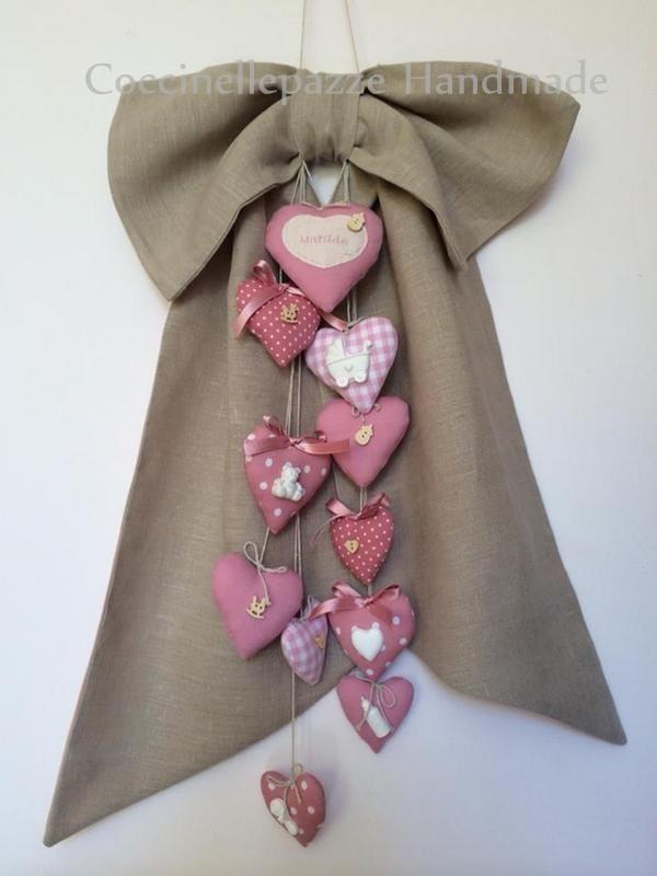 fiocco in lino con cuori personalizzabili e gessetti profumati - NEW BORN  PER INFO: NINITELL.P@GMAIL.COM