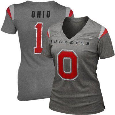 Nike Ohio State Buckeyes Premium Ladies Football Replica T-Shirt - Charcoal