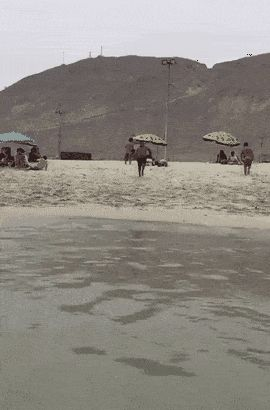 beach, tide, jump, fail GIF