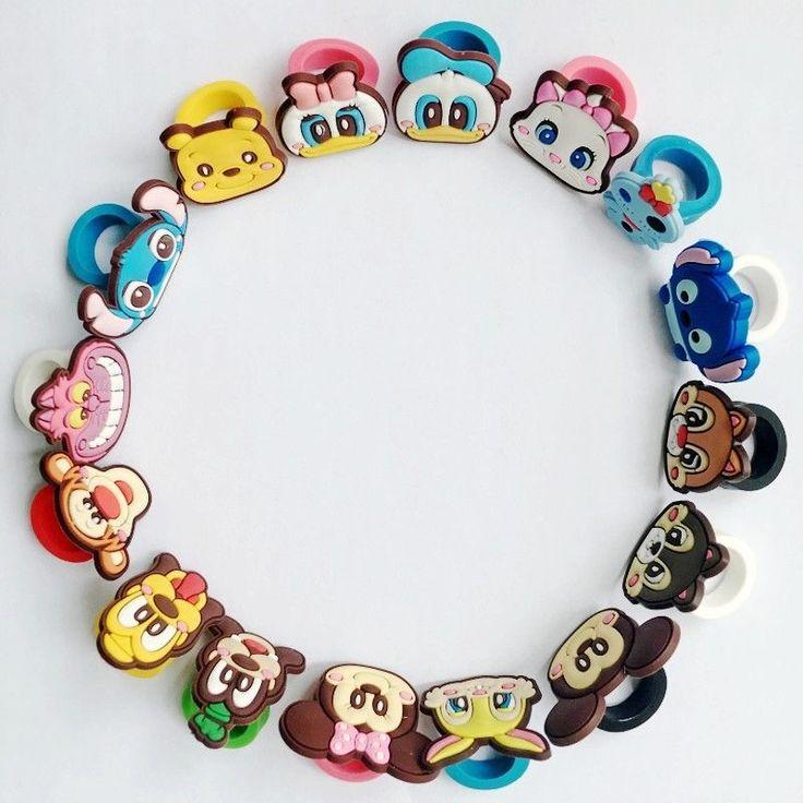 16Pcs Boy/Girl Rings Mickey Winnie Cute Ducks Lilo Stitch Cartoon Rings Kid Gift