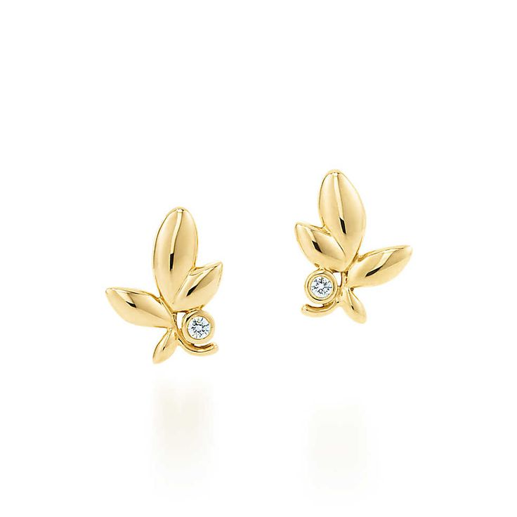 Paloma Picasso® Olive Leaf earrings in 18k gold with diamonds.