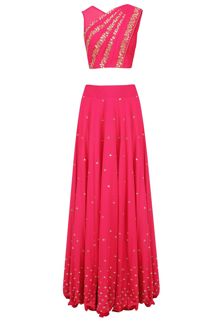 Reddish pink mirror work blouse with attached dupatta and skirt available only at Pernia's Pop Up Shop.