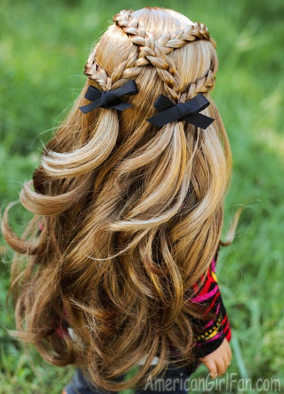 Criss-Cross Braid Pigtails American Girl Doll Hairstyle! (Click through for tutorial)