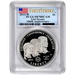 2013 W Girl Scouts Silver Dollar PR70 DCAM FS PCGS