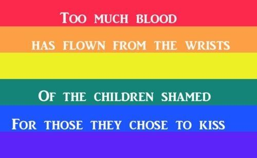 "Pride ......OMG....THIS IS SO SAD PEOPLE.......STOP THE HATE....BECAUSE LOVE WILL WIN ANYWAY......AND REMEMBER PEOPLE THEY WERE BORN THAT WAY.....FOR ""GOD'S"" SAKE PEOPLE GIVE THEM A BREAK....THEY DON'T WANT TO HURT ANYBODY SO WHY DO YOU.?....STOP AND THINK PEOPLE....STOP THE HATE...WHY CAN'T YOU BE MORE ACCEPTING."
