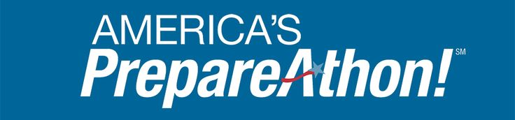 Blue background with America's PrepareAthon! Logo. America's PrepareAthon! is a nationwide, community-based campaign for action to increase emergency preparedness and resilience through hazard-specific drills, group discussions and exercises conducted at the national level every fall and spring.