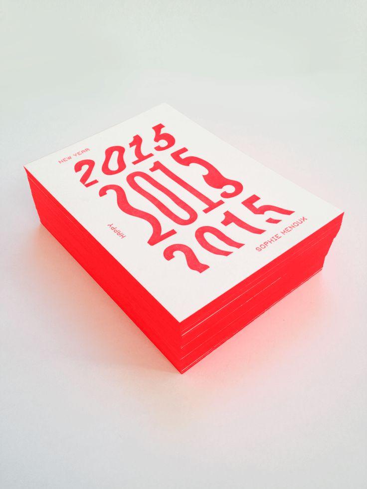 Letterpress Happy New Year - 2015 Pantone 805 - Fluo Papier 600g