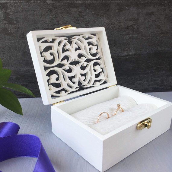 Ring Box Ring Bearer Box Wedding Ring Pillow Unique Double Ring Box Ring Holder In 2020 Wedding Ring Box Unique Ring Box Custom Ring Box