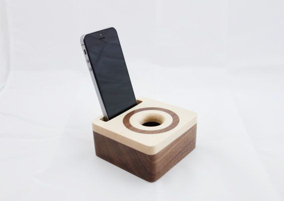 iPhone acoustic speaker box made from walnut wood, Wooden amplifier for iPhone 6 Gift