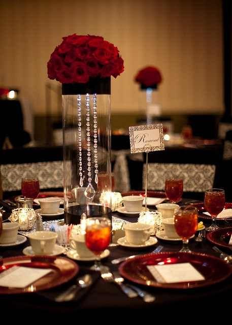 Black, white and red wedding centerpiece