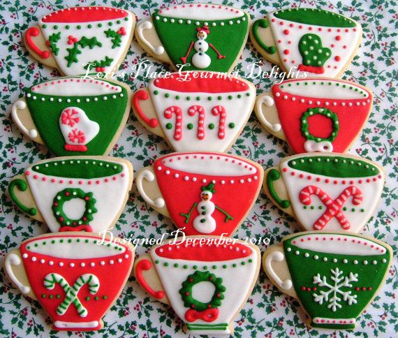 Christmas Tea Cups  Christmas Cookies  Cookie Gift  by lorisplace, $35.99