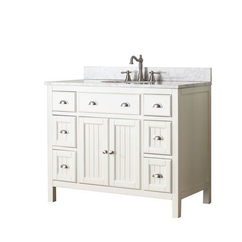 Hamilton French White 42 Inch Vanity Combo With White Carrera Marble Top Bathroom Inspiration