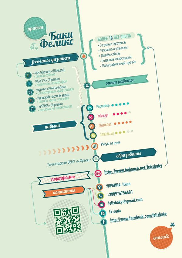 Resume / Curriculum Vitae by Felix Baky, via Behance