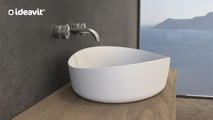 New Solidharmony FS Oval washbasin Size:L600xW440xH155mm Solid surfaces white matt www.ideavit.com