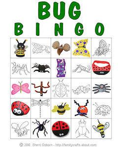 Bug crafts for children | Printable Bug Bingo Cards