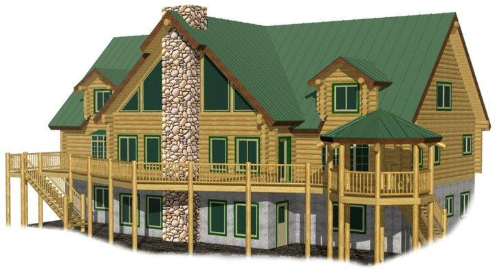 Southern Comfort Lodge log home kits prices-4 master bedrooms, 3 family rooms, 2 regular bedrooms and space for a bunk room