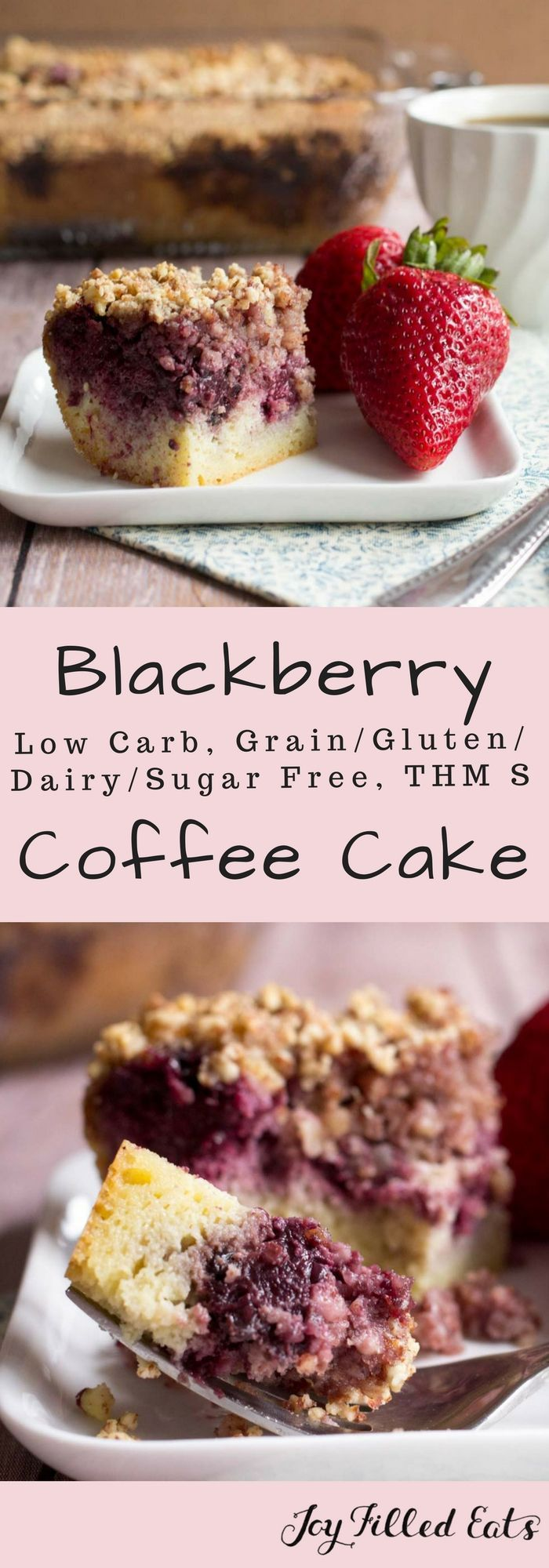 Blackberry Coffee Cake - Low Carb, Grain, Gluten, Dairy, & Sugar Free, THM S - This Blackberry Coffee Cake is my new fave breakfast. It is moist & flavorful with a crunchy almond topping. It pairs nicely with berries & a cup of coffee. via @joyfilledeats