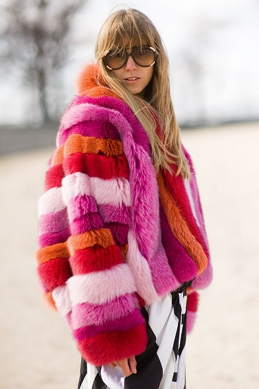 pink~    I would have to want to make a really big statement to wear this~  Vanessa Jackman color fur jacket!! Street style