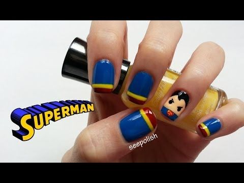 Cute & Easy Superman Nail Art - YouTube
