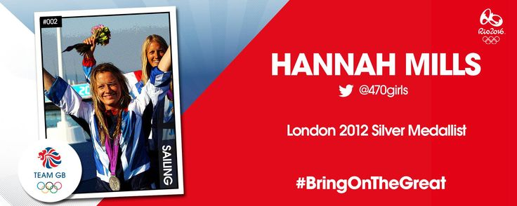 London 2012 Silver medallist Hannah Mills is competing for Team GB at the Rio 2016 Olympics Games.