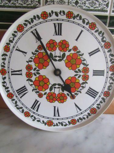 Vintage Taunton Vale Wall Clock Orange Daisy Design Retro Funky Chic Collectable