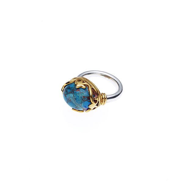 PUSHMATAaHA // Monarch Ring / Chrysocolla with Sterling Silver and Gold Plate