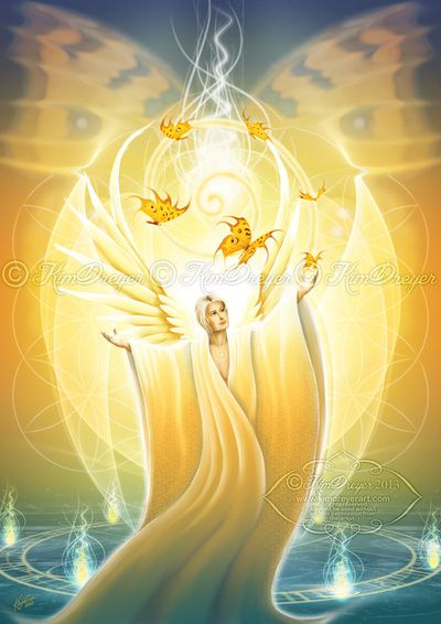 'Archangel Jophiel' by Kim Dreyer © 2014 All rights reserved. Angel Oracle Deck - The Art of Kim Dreyer www.kimdreyerart.com  www.facebook.com/kimdreyerart