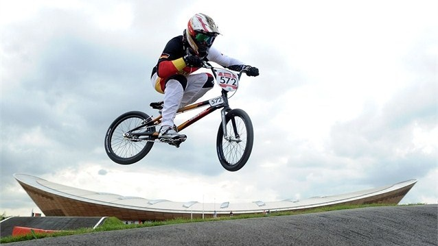 Luis Brethauer of Germany competes during the men's BMX Cycling on Day 12 of the London 2012 Olympic Games at the BMX Track.