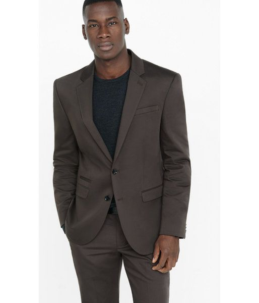 Brown. Fall Colors And Cotton Sateen Fabric Bring Crispness To This Slim Suiting Option. Pair The Jacket With Its Matching Pant And A Shirt In A Complimentary Earth Tone Or Try A Deep Blue Button-down To Give This Dark Neutral A Shot Of Cool. Mens Suits. 42l