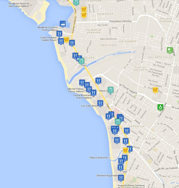 hotel resort map puerto vallarta hotel zone