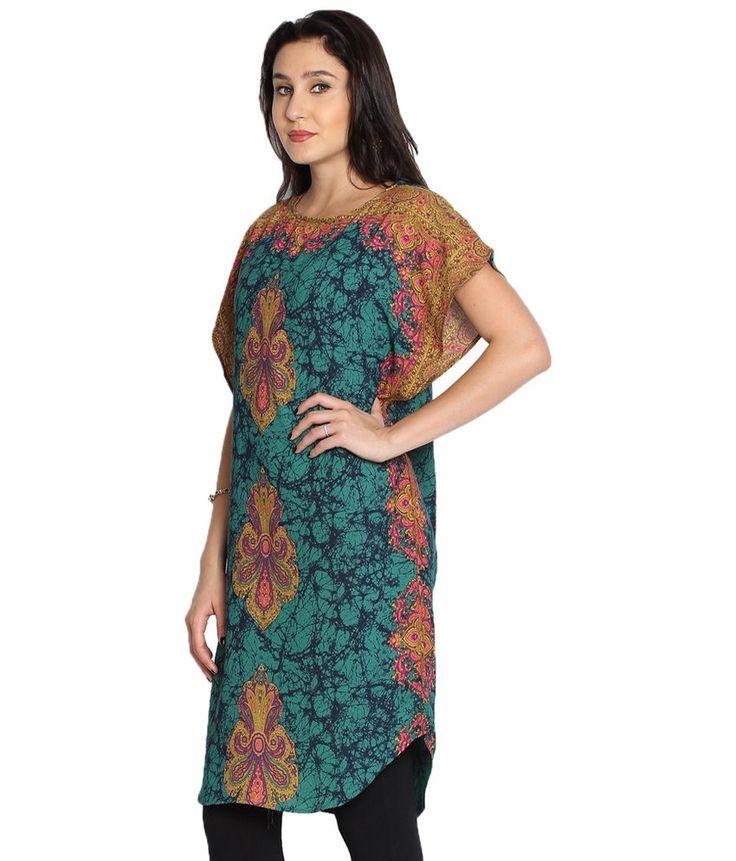 Folklore Blue & Yellow Long Kaftan Kurta for Women