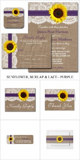 The Rustic Sunflower Wedding Collection - Purple. This rustic country wedding set / stationary / suite may include: Wedding invitation cards, wedding envelopes, wedding RSVP Cards, wedding address labels, save the dates, wedding programs, wedding thank you cards, rehearsal dinners, stamps and more matching wedding products. Click image to see all available matching items.