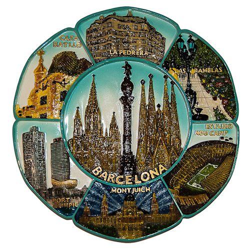 Souvenir Plate: Spain. Barcelona Attractions (Diameter 22 cm)