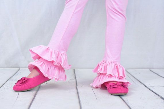 girls double ruffle pink leggings by SoSoHippo on Etsy