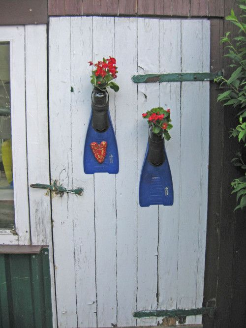 Upcycling alte Taucherflossen, Recycling-Idee, www.recyclingkunst.wordpress.com