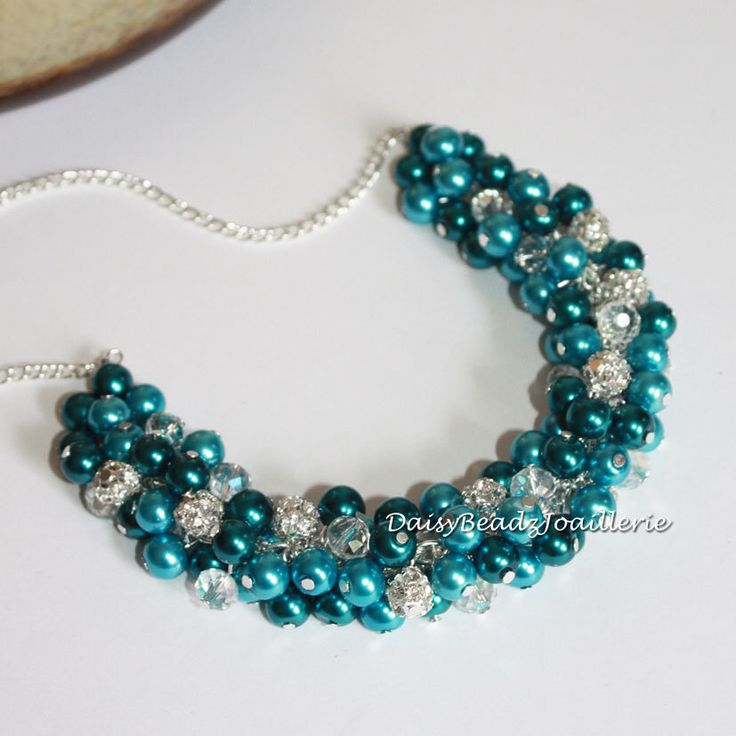 Turquoise and Teal Cluster Necklace, Teal Necklace, Bridal Jewelry, Bridal Necklace, Turquoise Necklace, Bridesmaids Gift, Teal Necklace by DaisyBeadzJoaillerie on Etsy https://www.etsy.com/ca/listing/219781043/turquoise-and-teal-cluster-necklace-teal