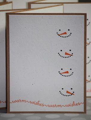 Skapeglede: Julekort. Fire smilende snømenn. Enkelt. DIY